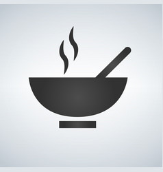 hot soup bowl of food icon vector image