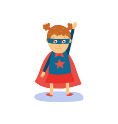 little girl in superhero costume cape and mask vector image
