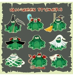 Halloween stickers green toads fashion costume vector image vector image