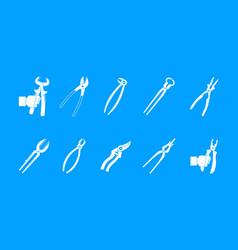 pliers icon blue set vector image