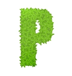 Uppecase letter P consisting of green leaves vector image