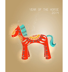 Year of the Horse 2014 greeting card vector image