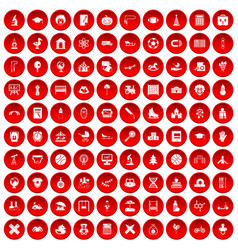 100 kids icons set red vector image vector image