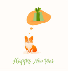 Christmas gift corgi thinks about gift vector
