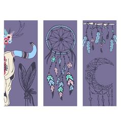 creative boho style banner mady ethnic feathers vector image