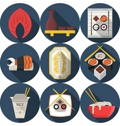 Flat round blue icons for asian food vector image