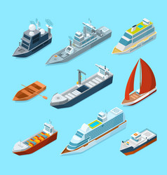 isometric passenger sea ships and different boats vector image
