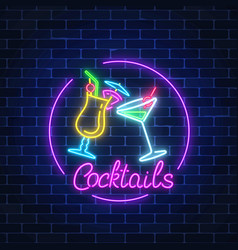 neon cocktails bar sign in circle frame with vector image vector image