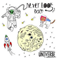 Sketch hand drawn colored cosmos vector