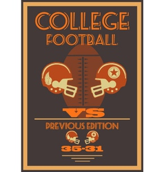 Vintage college american football poster vector image vector image