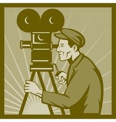 Vintage movie television film camera director vector image
