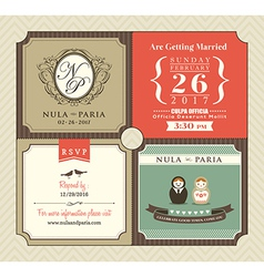 Vintage style Wedding Invitation card Template vector image vector image