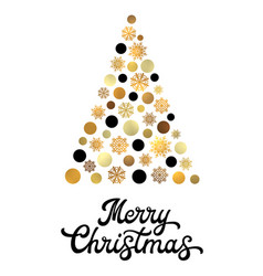 christmas tree with golden circles and snowflakes vector image