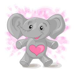 cute cartoon elephant with hearts vector image vector image