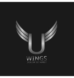 Wings U letter logo vector image