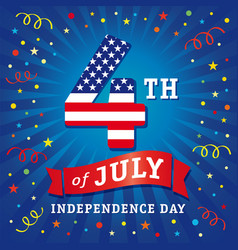 4 july independence day usa flag greeting card vector