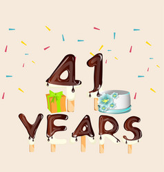 41 years happy birthday card vector image