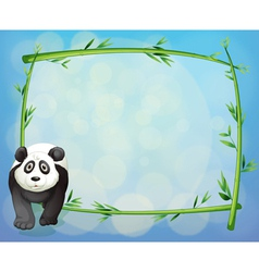 A panda standing beside a bamboo frame vector image
