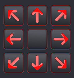 Arrows key set red icons on black buttons vector