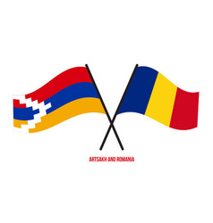 Artsakh and romania flags crossed and waving flat vector