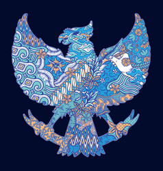 Batik culture on garuda silhouette vector