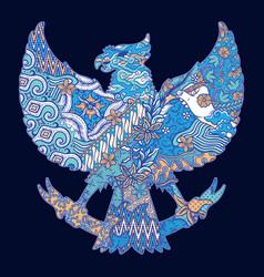 Batik culture on garuda silhouette vector