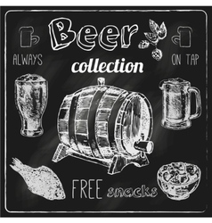 Beer icons blackboard set vector