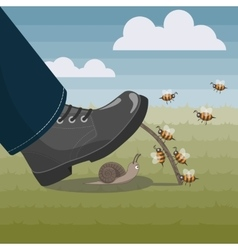 Bees help unlucky snail to stay alive vector image