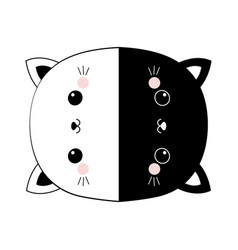 black and white cat set round icon head face line vector image