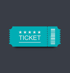blue ticket icon with shadow on black background vector image
