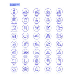 Blue transportation web icons set vector