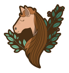Brown clear silhouette of female horse face with vector