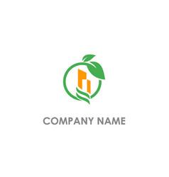 building green leaf environment logo vector image