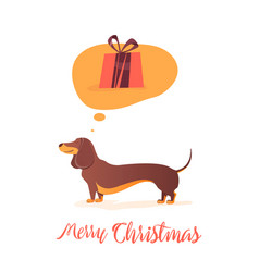 christmas gift dog thinks about gift vector image