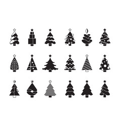 christmas tree silhouette simple symbols xmas vector image