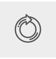 Circular arrow sign thin line icon vector image