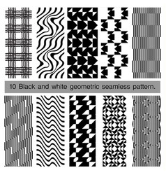 Collection of black and white geometric seamless vector