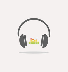 Color headphones with music icon on beige vector