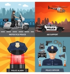 Colored Police Icon Set vector