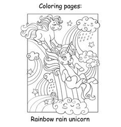 Coloring book page funny unicorns ride rainbow vector