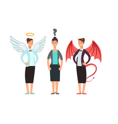 Confused woman with angel and devil over shoulders vector