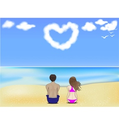 Couple on a beach vector image