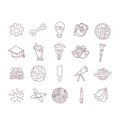 cute cartoon icons on science school study theme vector image