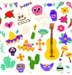 dia los muertos seamless pattern vector image