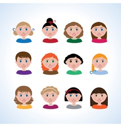 Exam girls with different hairstyles vector