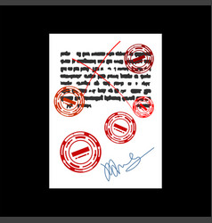 Failure document with red stamp rejected square vector
