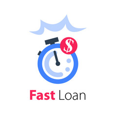 Fast cash loan easy money stopwatch and coin vector