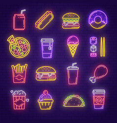 Fast food and drink neon light sign for signboard vector