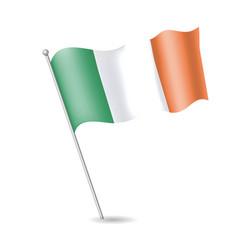 Flag ireland on flagstaff vector