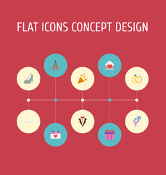 Flat icons sandal bridegroom dress card vector